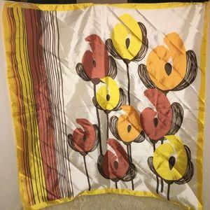 Vintage silky flower retro mod rockabilly Scarf
